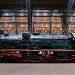 Steam locomotive of German Reich Railway at Leipzig station thumbnail