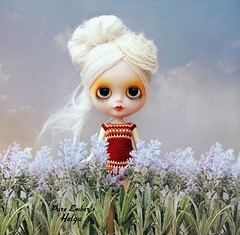 Lilac fields 💜 (pure_embers) Tags: pure embers blythe doll dolls custom reinadesalem embershelga takara neo helga alpaca hair reroot uk girl pureembers colourful photography madame sunrise lilac field dolliina crochet dress portrait