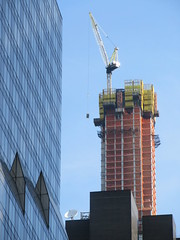 Pencil Tower under Construction 57th Street NYC 3846 (Brechtbug) Tags: 111 west 57th street pencil tower under construction nyc 2019 new york city st building sky scraper skyscraper towers architecture buildings march 03142019 crain lifting box seen from times square broadway