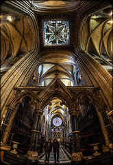 Durham Cathedral. (CWhatPhotos) Tags: cwhatphotos camera photographs photograph pics pictures pic picture image images foto fotos photography artistic that have which contain flickr olympus omd em1 mk l mzuiko 8mm prime fisheye fish eye lens durham north east england uk city centre concrete structure cathedral foot path footpath walk iconic building ceiling roof beautiful architecture arches