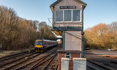 Melton Mowbray (Peter Leigh50) Tags: melton mowbray signal box semaphore turbostar train trees track railway railroad rail sunshine fujifilm fuji xt2 cross country trains