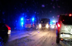 Winter road accident (sakarip) Tags: sakarip car road accident winter snow snowfall ice järvenpää finland january firetruck lights north police weather firemen suomi slippery blue highway truck wan