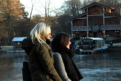 Regarder le soleil... (riccardolongo1) Tags: beauty girls brussels belgium world europe winter outdoor evening afternoon colour water sight profile blonde brunette cold woods forest style green brown relax sunday weekend tranquillity peace family bridge river lake