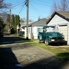 Dodge pickup in the alley (rickele) Tags: dodge pickup truck classictruck alley alleyway powerlines