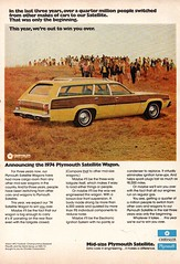 1974 Plymouth Satelite Wagon Chrysler USA Original Magazine Advertisement (Darren Marlow) Tags: 1 4 7 9 19 74 1974 p plymouth s satelite w wagon c chrysler car cool collectible collectors classic a automobile v vehicle u us usa united states american america 70s