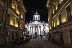 Night St. Petersburg. (Oleg.A) Tags: ancient shadow landscape winter church street people city cityscape dome snow exterior old building cathedral outdoor square night orthodox design style cross russia saintpetersburg architecture nevskyprospect catedral nevskyavenue landscapes outdoors town leningradoblast ru