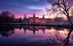 Ooidonk castle (andrea.g) Tags: sky belgium castle landscape sunset lake park serene tree water colour
