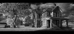 Ethereal Abandonment (Whitney Lake) Tags: panorama pano blackwhite infrared monochrome bw missouri hannibal urbex rurex farmhouse farm house decay abandoned