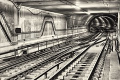 (Rhia.photos) Tags: metro tube subway tunnel urban angle perspective black white monochrome monotone mono blackandwhite bandw bw blackwhite photo photography photograph image city capital capi lisbon lisboa portugal portugese europa europe eu tracks rails light