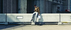 Balancing Act (Sean Batten) Tags: london england unitedkingdom gb haywardgallery southbank city urban streetphotography street candid person phone mobilephone fuji x100f fujifilm