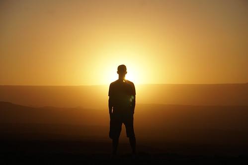 Sunset at 2,580 meters (8,464.56 ft) above sea level, the Coyote Stone (Piedra del Coyote), the Valley of the Moon (Valle de la Luna), San Pedro de Atacama, the Atacama Desert, Chile.