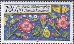 Deutsche Briefmarken (micky the pixel) Tags: briefmarke stamp ephemera deutschland bundespost wohlfahrtsmarke bordüre edging blume flower schmetterling butterfly schnecke snail