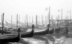 Moody Venice (photofitzp) Tags: atmosphere bw blackandwhite fog italy venice gondola water