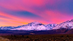 Mount Tom and Round Valley on a colorful winter's morning. (RS2Photography) Tags: inyo inyocounty mono monocounty colours colors lightroom mountain clouds snowcappedmountains art pink red blue sunrise sierranevada easternsierras california beautiful beauty cottoncandysky cottoncandy sky mounttom owensvalley roundvalley 395 highway395 us395 bishop 2019 eos colorful landscape winter easternsierra canon80d canon unofficial flickr rovana