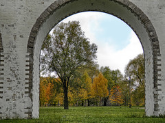 Old park (janepesle) Tags: russia moscow architecture nature autumn aqueduct arch travel tree city cityscape outdoors grass green olympus