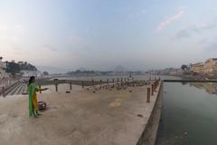 0935 Pushkar Morning V (Hrvoje Simich - gaZZda) Tags: outdoors city lake water sky morning blue animals birds people woman pushkar india asia indian travel nikon nikond750 samyang1228 gazzda hrvojesimich