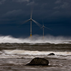 Windy Day (PeskyMesky) Tags: aberdeen aberdeenshire blackdog beach water weather wind windfarm wave scotland sea ocean landscape canon canon5d eos