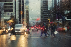 Rainy days (charhedman - off till the middle of December) Tags: tryingtocatchuponthethemes downtownvancouver raining raininginvancouver streetlights reflections lights georgiastreet cars 52weekthemechallenge