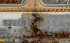 Special Service (Junkstock) Tags: aged abandoned artifact artifacts bus campo california corrosion corroded craquelure decay decayed distressed graphics graphic line lines obsolete old oldstuff patina paint peelingpaint relic rust rusty rusted textures texture typography type transportation transport