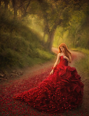 Trail ({jessica drossin}) Tags: jessicadrossin woman petals rose trail trees portait fine art dress red color green hair redhead wwwjessicadrossincom girl