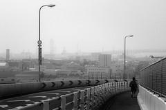 P4064904A Urban space・spring haze (soyokazeojisan) Tags: japan osaka city street landscape people bw blackandwhite monochrome digital olympus em1markⅱ 12100mm 2019