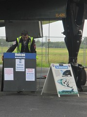 VRT volunteer Jamie Keene erects the notice boards for visitors at the Visit the Vulcan Day event with XL426, Southend Airport 17.06.18 (Trevor Bruford) Tags: vrt vulcan restoration trust xl426 southend airport avro nuclear bomber cold war plane jet aircraft airplane aviation raf tin triangle delta lady royal air force volunteer