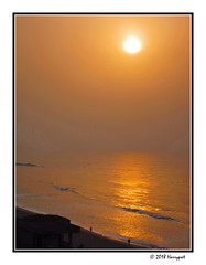 sunset in cotounou (harrypwt) Tags: harrypwt africa afrika westafrica canons95 s95 borders framed city sand sea sunset reflections paintinglike people beach coastal