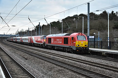 67028 + 8221* + 91126 - Sandy - 31/12/18. (TRphotography04) Tags: db cargo uk 67028 is seen passing sandy dragging failed lner 225 set consisting dvt 8221 91126 darlington hippodrome the near fletton junction earlier that morning was dragged peterborough by 66747 working 5s04 1014 bounds green trsmd