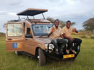 Africa Safari car with Tim and Mollel