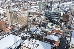 Calgary Downtown Looking North East (Susan.Johnston) Tags: calgarytower downtowncalgary topofcalgarytower calgary alberta olympicplaza calgarymunicipalbuilding bowriver