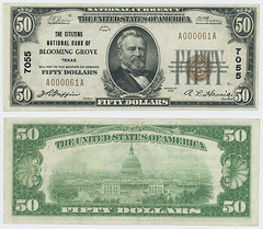 United States $50.00 (fifty dollars) national currency (SMU Libraries Digital Collections) Tags: texas money national us united states currency paper banks notes note banknote banknotes chartered bank banking navarro navarrocounty bloominggrove blooming grove