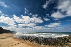 'Time and Tide' (Canadapt) Tags: beach sea ocean clouds sand waves surf wideangle cliffs tide magoito praia portugal canadapt