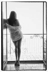 Fresh Air (WayneToTheMax) Tags: balconyblackwhitephotographynikond750womanshirtfigurenude
