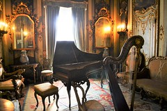 Tiny piano and harp 0196 (Tangled Bank) Tags: in main house vizcaya museum gardens miami old classic heritage vintage art history historical mansion dade county florida tiny piano harp 0196 musical instruments antique