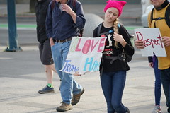 Woman's March 2019 (Lynn Friedman) Tags: respect love pinkpussyhat sign womansmarch politics gender equality resistance sanfrancisco california usa 94102