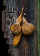 Calabashes On A Doorway, Tuan Shan Village, Yunnan Province, China (Eric Lafforgue) Tags: a0006419 asia calabash china colorpicture nopeople tuanshan vertical yunnan yunnanprovince