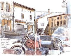 Noiretable (sylvain.cnudde) Tags: noirétable croquis moto sketch urbansketch auvergne urbansketching urbansketcher bmw village