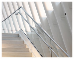 White angles (AEChown) Tags: stairs architecture white lines angles theoculus newyork handrail geometric reflections