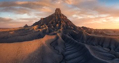 Without a Trace (Ryan Dyar) Tags: ryandyar drone aerial sunrise southwest factorybutte butte badlands desert utah