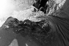 Falling into the Light (brucetopher) Tags: water brook stream waterfall flow flowing fall drop over down dark light wet moving fresh falling black white blackandwhite bw blackwhite monochrome mono bnw crazytuesday enblancoynegro hct