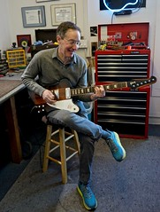 Michael Berger trying out his Gibson Firebird after the once over, then off to his Marshall stack, neelyguitars.com (David Neely) Tags: gibson firebird electric guitars