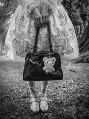 Cute Cub (Siobhán Bermingham) Tags: handbag bag anime japanese blackandwhite festival cute dress cosplay dublin manga girl bw teddy japan shoes kawaii