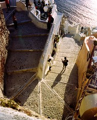 Oia Stairs (mynameisAirport) Tags: leica m6 leicam6 leicam leicacraft leicacamera kodak kodakportra portra oia santorini travel travelphotography greece stairs sunset golden goldenhour film filmisnotdead filmisalive analog analogphotography tourist