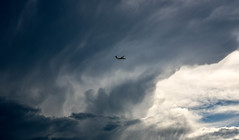 Escaping the storm (maytag97) Tags: maytag97 nikon d750 airplane cloud sky storm stormy dramatic atmosphere clouds dark thunderstorm black nature ominous background moody thunder weather scenic danger cloudscape beautiful summer natural day view gray horizontal scene overcast climate meteorology cumulonimbus color image heavy