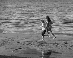 Girls Running on the Beach at Decption Pass, monochrome 1 (mfenne) Tags: marlowe fenne deception pass washington leica landscape monochrom black white beach girls running winter