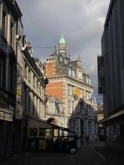 Bourse from Rue de la Monnaie, Namur, Belgium (Paul McClure DC) Tags: belgium belgique wallonie wallonia feb2018 namur namen ardennes historic architecture
