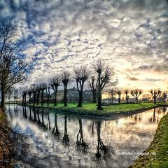 Farm De Rollen in Groningen (iPhone Fotograaf) Tags: clouds farm landscape sun tree groningen water iphone8plus sky sunrise reflection