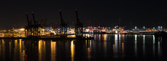65106472-Pano-LR-4k-2160 (the.digitaleye) Tags: river stroom fluss elbe container terminal burchardkai hamburg germany hpa wasser ladebrücken ladekräne schiffe crane water ship sunset sundown blue hour eurogate waltershofer hafen port hhla harbor
