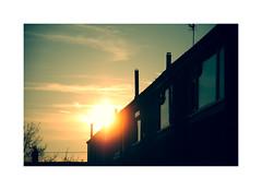 The start of another day in suburbia ! (CJS*64) Tags: home dawn saturday saturdaymorning daybreak light sun houses getup dslr d7000 18mm105mmlens cjs64 craigsunter cjs suburbia yellows black dark flare