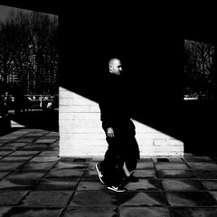 Get Ahead (Sean Batten) Tags: london england unitedkingdom gb southbank city urban streetphotography street blackandwhite bw person light shadow candid fuji x100f fujifilm head walking